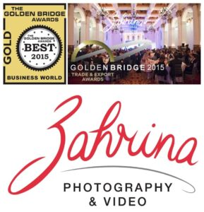 2015 GOLDEN BRIDGE BUSINESS AWARDS - Women In Business GOLD AWARD WINNER - Zahrina Photography + Video